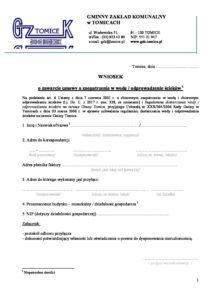 Wniosek – zawarcie umowy o zaopatrzenie w wodę / odprowadzenie ścieków