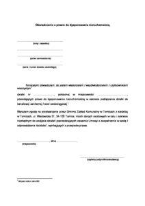 Oświadczenie o prawie do dysponowania nieruchomością