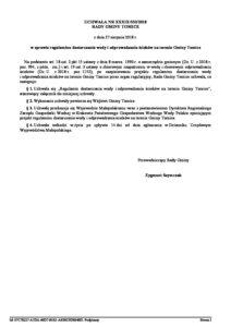 UCHWAŁA NR XXXIX/332/2018RADY GMINY TOMICEz dnia 27 sierpnia 2018 r.w sprawie regulaminu dostarczania wody i odprowadzania ścieków na terenie Gminy Tomice (do pobrania)