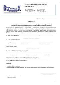 Wniosek o zawarcie umowy o zaopatrzenie w wodę _ odprowadzenie ścieków